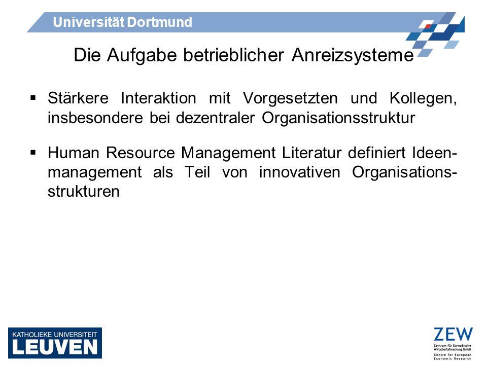 Universität Dortmund Die Aufgabe betrieblicher Anreizsysteme Macduffie (1995): Positive Auswirkungen von HRM auf die Produktivität möglich, wenn 1)die Arbeitnehmer über Wissen und Kenntnisse verfügen, welche den Managern fehlen.