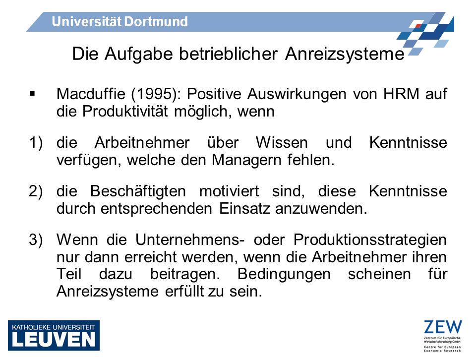 Universität Dortmund Die Aufgabe betrieblicher Anreizsysteme Macduffie (1995): Positive Auswirkungen von HRM auf die Produktivität möglich, wenn 1)die