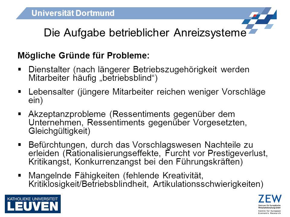Universität Dortmund Die Aufgabe betrieblicher Anreizsysteme Mögliche Gründe für Probleme: Dienstalter (nach längerer Betriebszugehörigkeit werden Mit