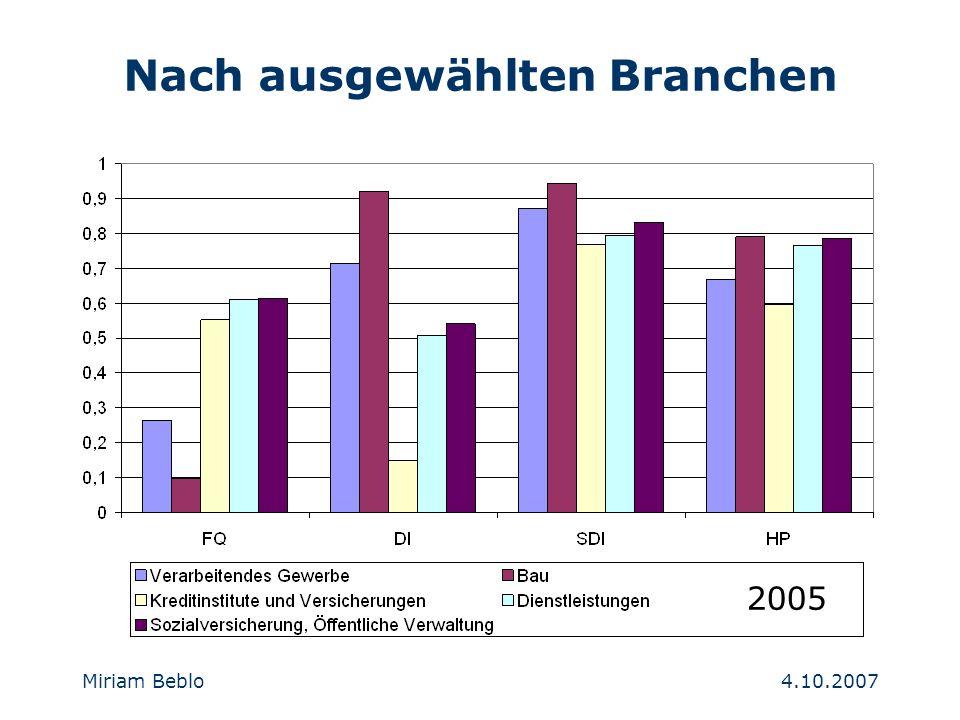 4.10.2007 Miriam Beblo Nach ausgewählten Branchen 2005