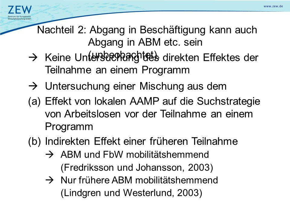 Nachteil 2: Abgang in Beschäftigung kann auch Abgang in ABM etc. sein (unbeobachtet). Keine Untersuchung des direkten Effektes der Teilnahme an einem