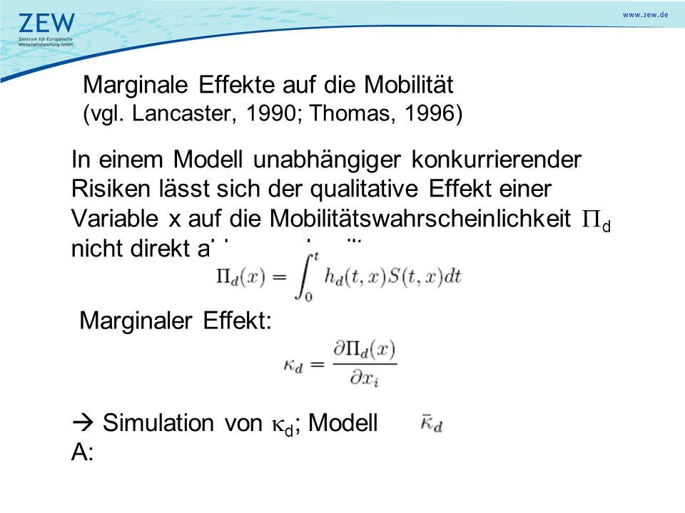 Marginale Effekte auf die Mobilität (vgl. Lancaster, 1990; Thomas, 1996) In einem Modell unabhängiger konkurrierender Risiken lässt sich der qualitati