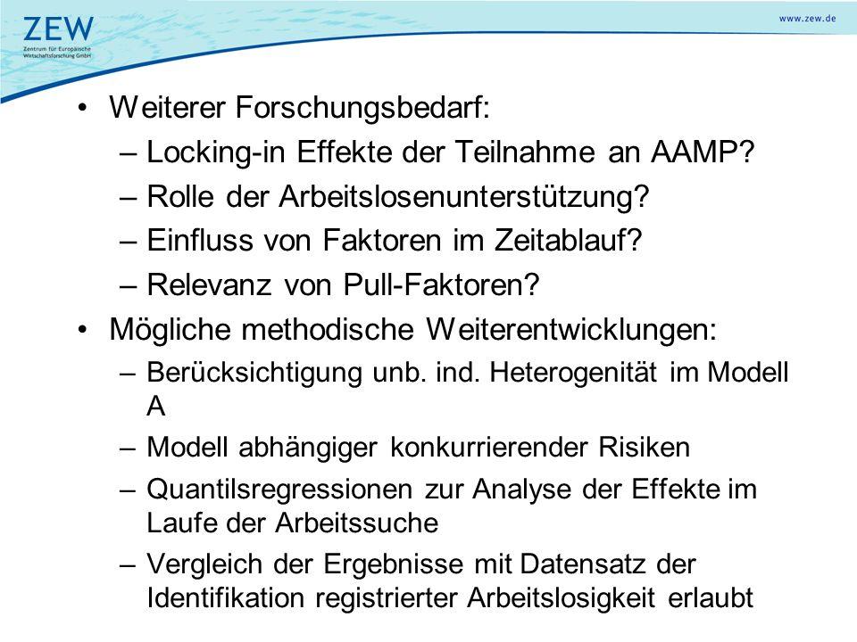 Weiterer Forschungsbedarf: –Locking-in Effekte der Teilnahme an AAMP? –Rolle der Arbeitslosenunterstützung? –Einfluss von Faktoren im Zeitablauf? –Rel