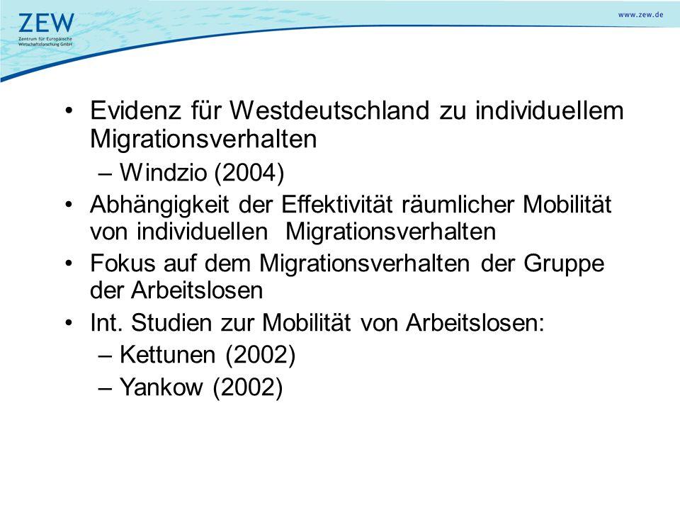Evidenz für Westdeutschland zu individuellem Migrationsverhalten –Windzio (2004) Abhängigkeit der Effektivität räumlicher Mobilität von individuellen