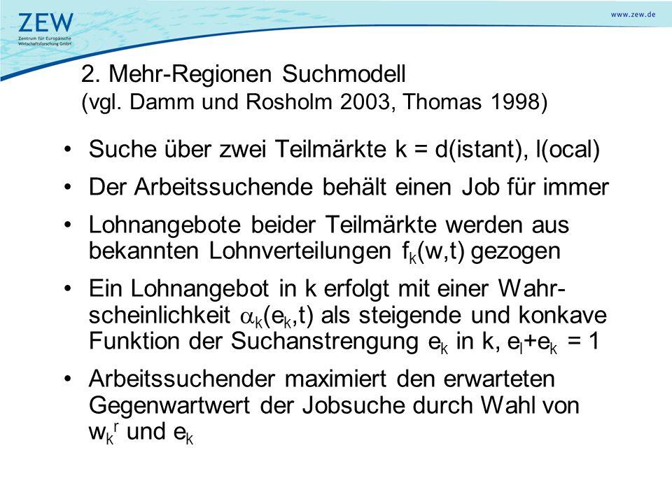 2. Mehr-Regionen Suchmodell (vgl. Damm und Rosholm 2003, Thomas 1998) Suche über zwei Teilmärkte k = d(istant), l(ocal) Der Arbeitssuchende behält ein