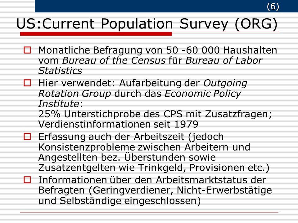 (6) (6) Monatliche Befragung von 50 -60 000 Haushalten vom Bureau of the Census für Bureau of Labor Statistics Hier verwendet: Aufarbeitung der Outgoi