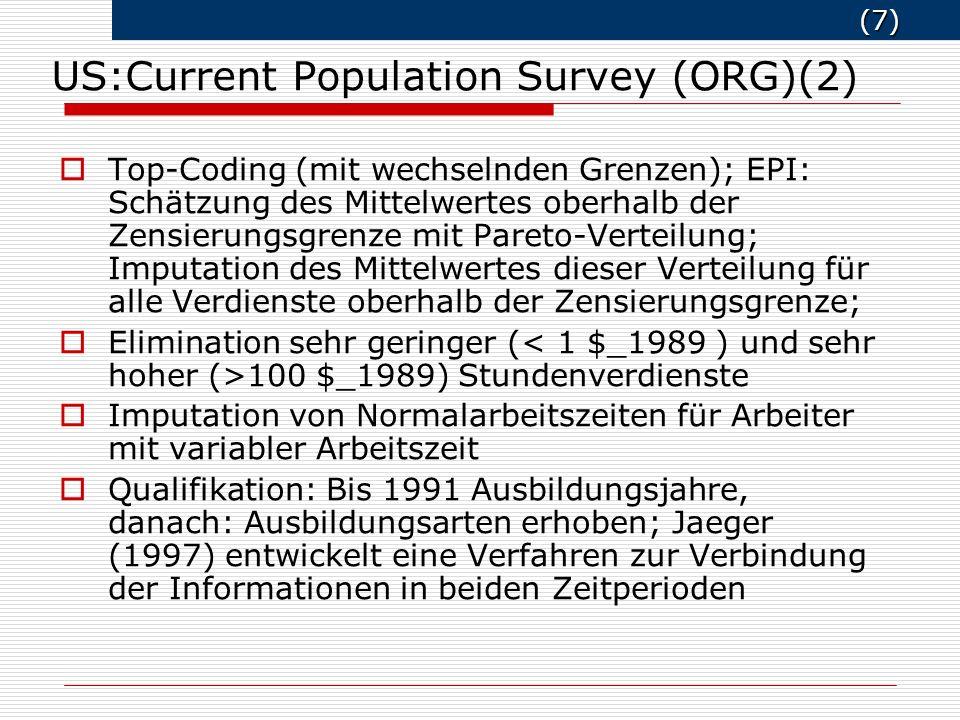 (7) (7) Top-Coding (mit wechselnden Grenzen); EPI: Schätzung des Mittelwertes oberhalb der Zensierungsgrenze mit Pareto-Verteilung; Imputation des Mit