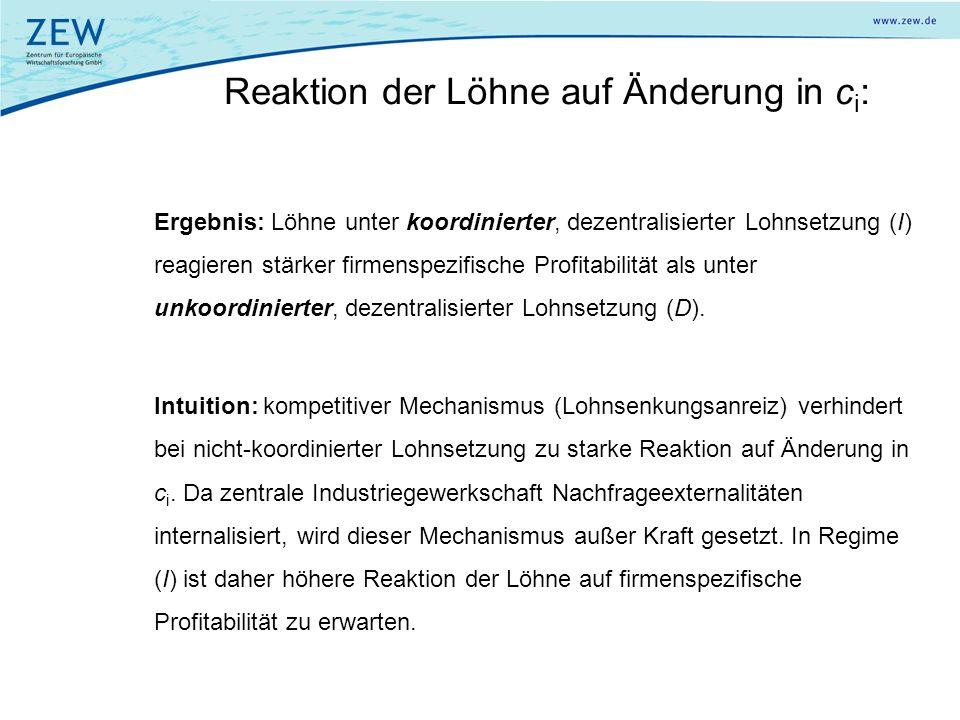 Reaktion der Löhne auf Änderung in c i : Ergebnis: Löhne unter koordinierter, dezentralisierter Lohnsetzung (I) reagieren stärker firmenspezifische Pr
