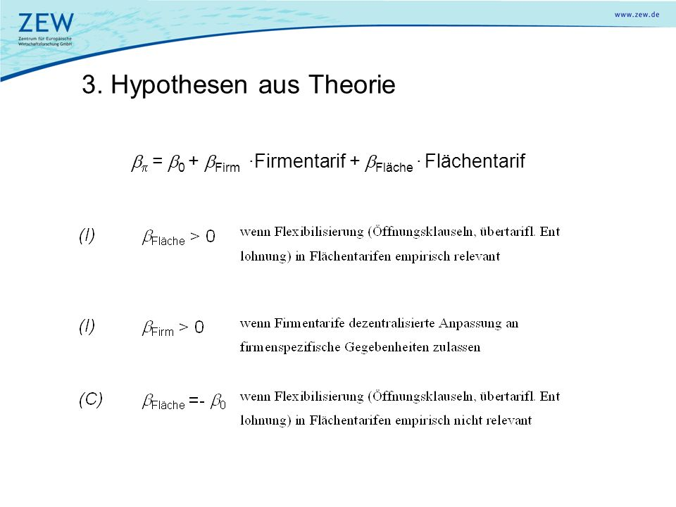 3. Hypothesen aus Theorie = 0 + Firm ·Firmentarif + Fläche · Flächentarif