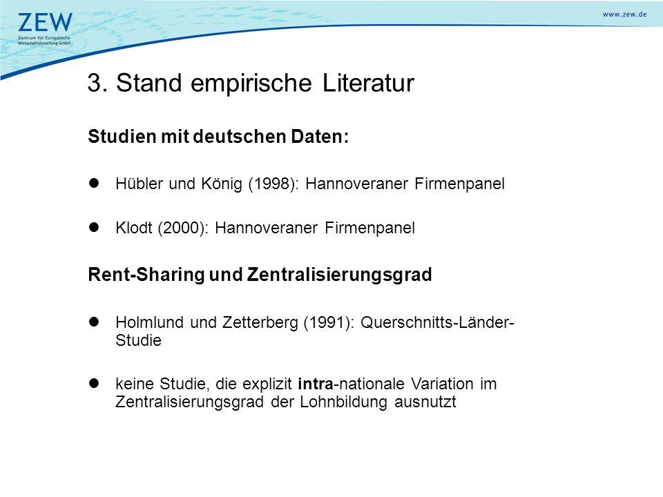 3. Stand empirische Literatur Studien mit deutschen Daten: Hübler und König (1998): Hannoveraner Firmenpanel Klodt (2000): Hannoveraner Firmenpanel Re