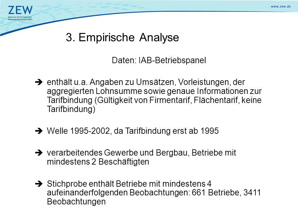 3. Empirische Analyse Daten: IAB-Betriebspanel enthält u.a. Angaben zu Umsätzen, Vorleistungen, der aggregierten Lohnsumme sowie genaue Informationen