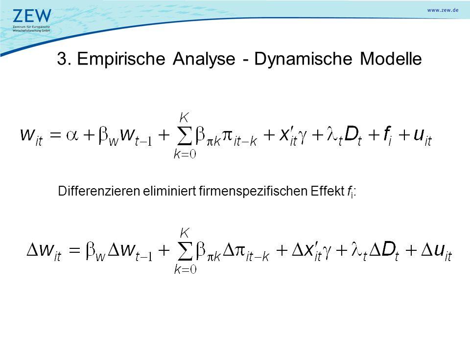 3. Empirische Analyse - Dynamische Modelle Differenzieren eliminiert firmenspezifischen Effekt f i :