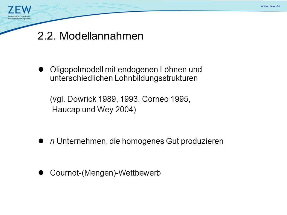 2.2. Modellannahmen Oligopolmodell mit endogenen Löhnen und unterschiedlichen Lohnbildungsstrukturen (vgl. Dowrick 1989, 1993, Corneo 1995, Haucap und