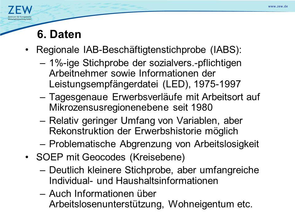 6. Daten Regionale IAB-Beschäftigtenstichprobe (IABS): –1%-ige Stichprobe der sozialvers.-pflichtigen Arbeitnehmer sowie Informationen der Leistungsem
