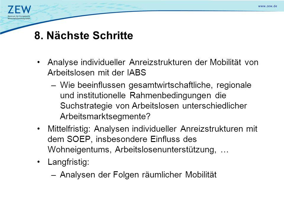 8. Nächste Schritte Analyse individueller Anreizstrukturen der Mobilität von Arbeitslosen mit der IABS –Wie beeinflussen gesamtwirtschaftliche, region