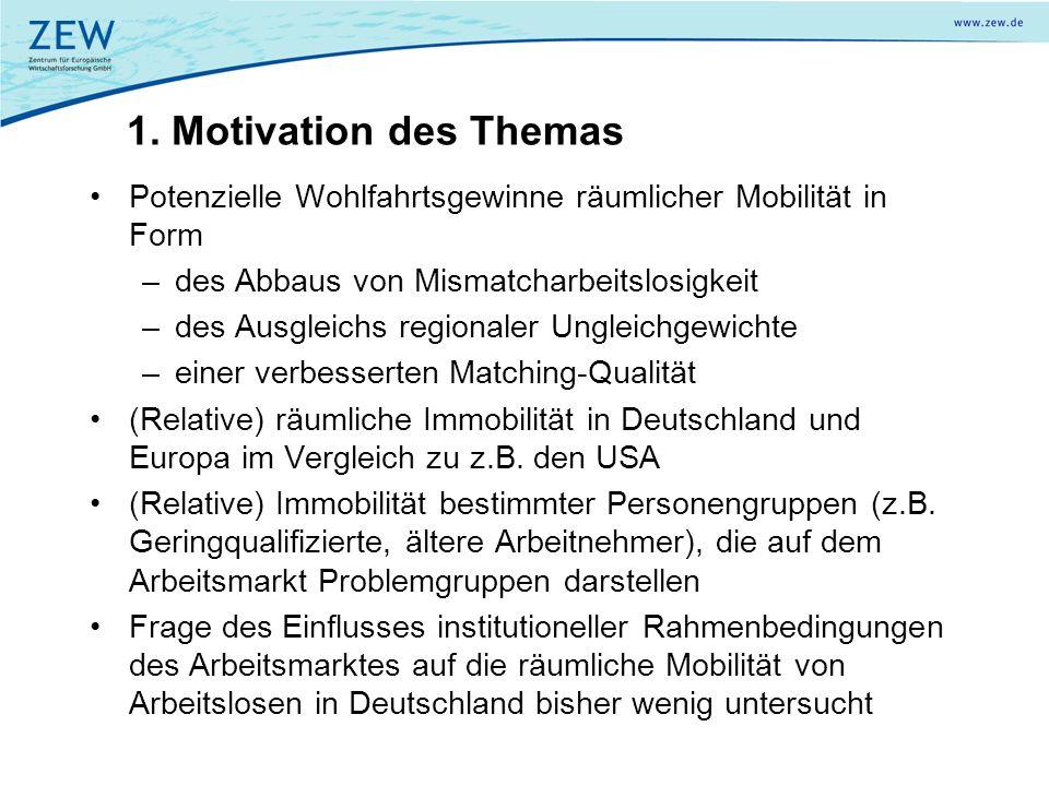 1. Motivation des Themas Potenzielle Wohlfahrtsgewinne räumlicher Mobilität in Form –des Abbaus von Mismatcharbeitslosigkeit –des Ausgleichs regionale