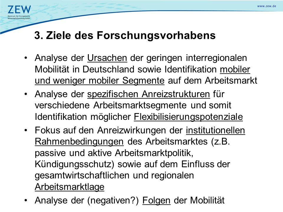 3. Ziele des Forschungsvorhabens Analyse der Ursachen der geringen interregionalen Mobilität in Deutschland sowie Identifikation mobiler und weniger m