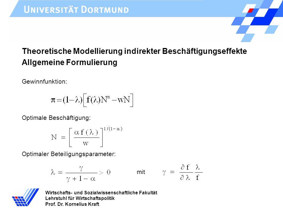 Wirtschafts- und Sozialwissenschaftliche Fakultät Lehrstuhl für Wirtschaftspolitik Prof. Dr. Kornelius Kraft Theoretische Modellierung indirekter Besc