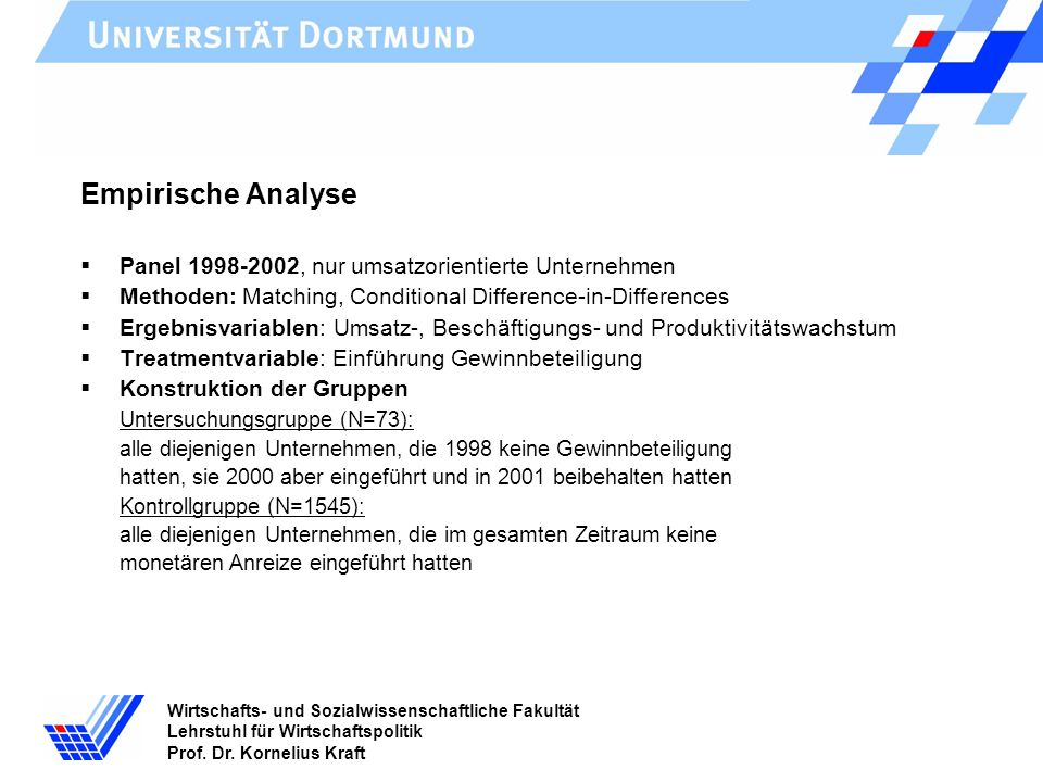 Wirtschafts- und Sozialwissenschaftliche Fakultät Lehrstuhl für Wirtschaftspolitik Prof. Dr. Kornelius Kraft Empirische Analyse Panel 1998-2002, nur u