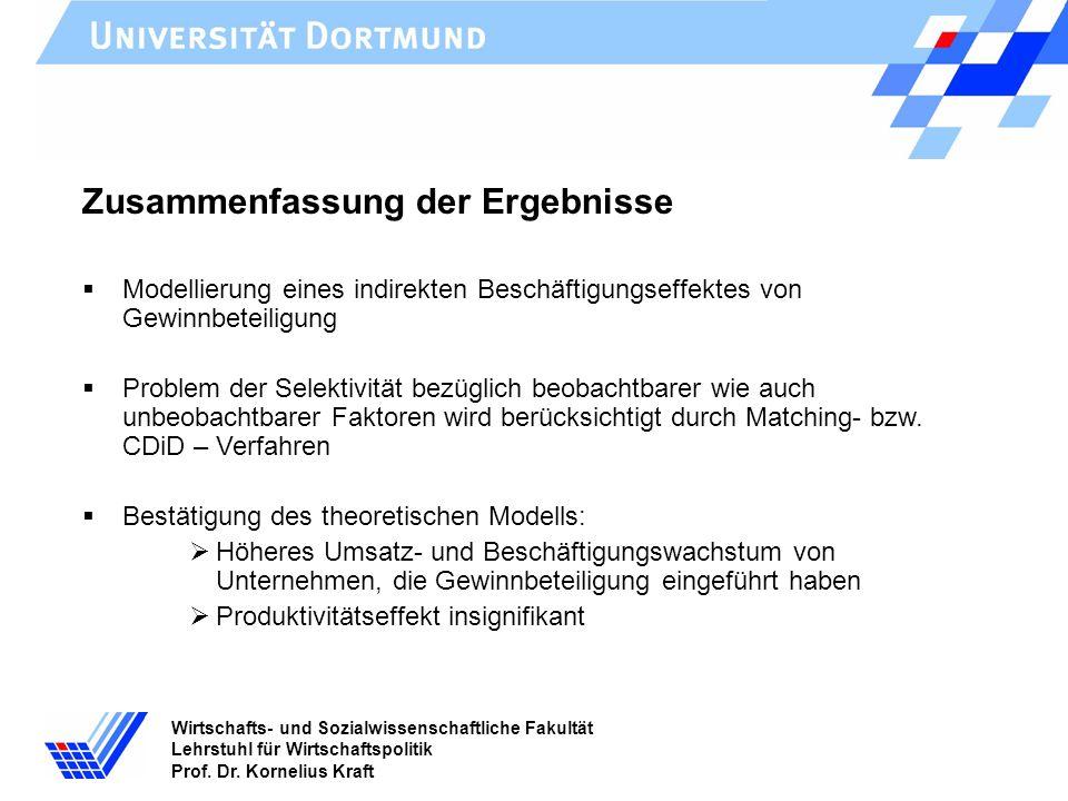 Wirtschafts- und Sozialwissenschaftliche Fakultät Lehrstuhl für Wirtschaftspolitik Prof. Dr. Kornelius Kraft Zusammenfassung der Ergebnisse Modellieru