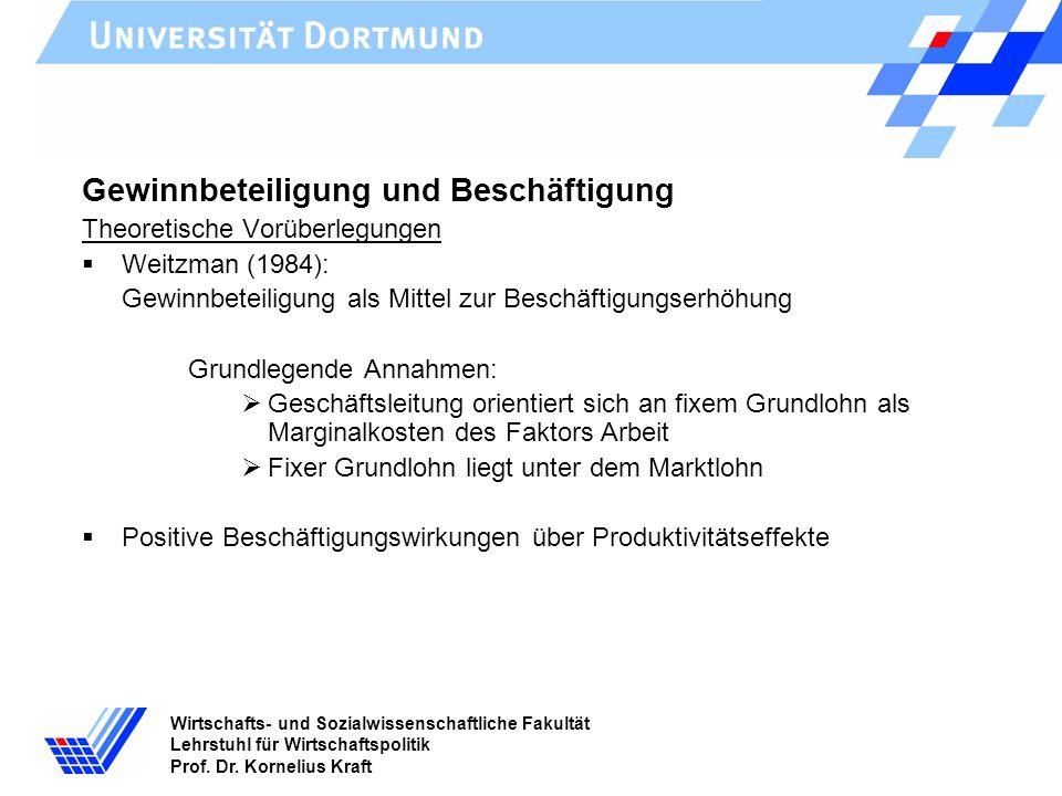 Wirtschafts- und Sozialwissenschaftliche Fakultät Lehrstuhl für Wirtschaftspolitik Prof. Dr. Kornelius Kraft Gewinnbeteiligung und Beschäftigung Theor
