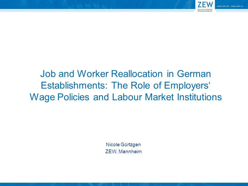 Zentrale Fragestellung: Zusammenhang zwischen firmenspezifischer Arbeitsplatzdynamik (Job Flows), Arbeitskräftereallokation (Worker Flows) und firmenspezifischer Lohnflexibilität Begriffsklärung (Gross Job and Worker Flows/Job and Worker Reallocation): Schaffung und Zerstörung von Arbeitsplätzen Alle Zugänge und Abgänge von AN Zu- und Abgänge, die das für Job Flows erforderliche Ausmaß übersteigen Worker Flows Arbeitsplatzdynamik ( Job Flows) Worker Flows Arbeitskräftereallokation ( Worker Flows) Worker Flows Überschussreallokation (Excess Worker Flows)