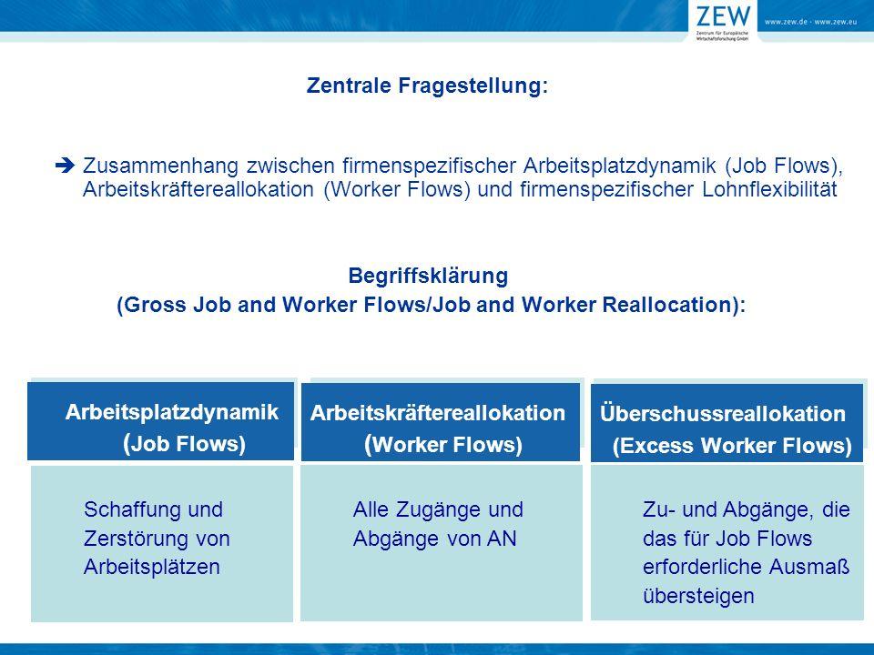 Zentrale Fragestellung: Zusammenhang zwischen firmenspezifischer Arbeitsplatzdynamik (Job Flows), Arbeitskräftereallokation (Worker Flows) und firmens