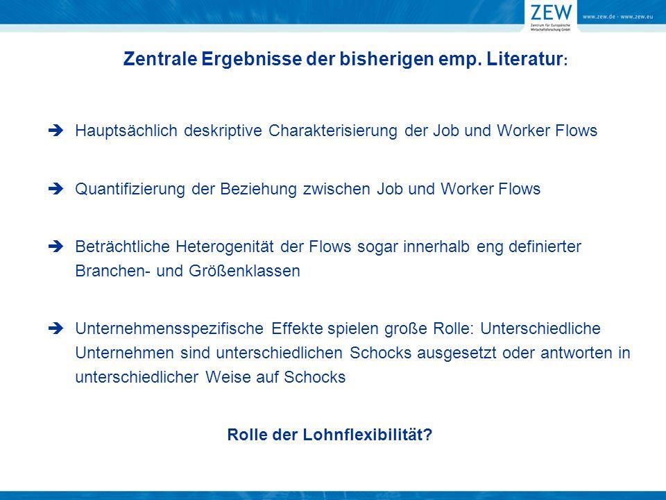 Zentrale Ergebnisse der bisherigen emp. Literatur : Hauptsächlich deskriptive Charakterisierung der Job und Worker Flows Quantifizierung der Beziehung