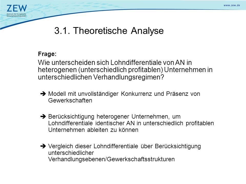3.1. Theoretische Analyse Frage: Wie unterscheiden sich Lohndifferentiale von AN in heterogenen (unterschiedlich profitablen) Unternehmen in unterschi