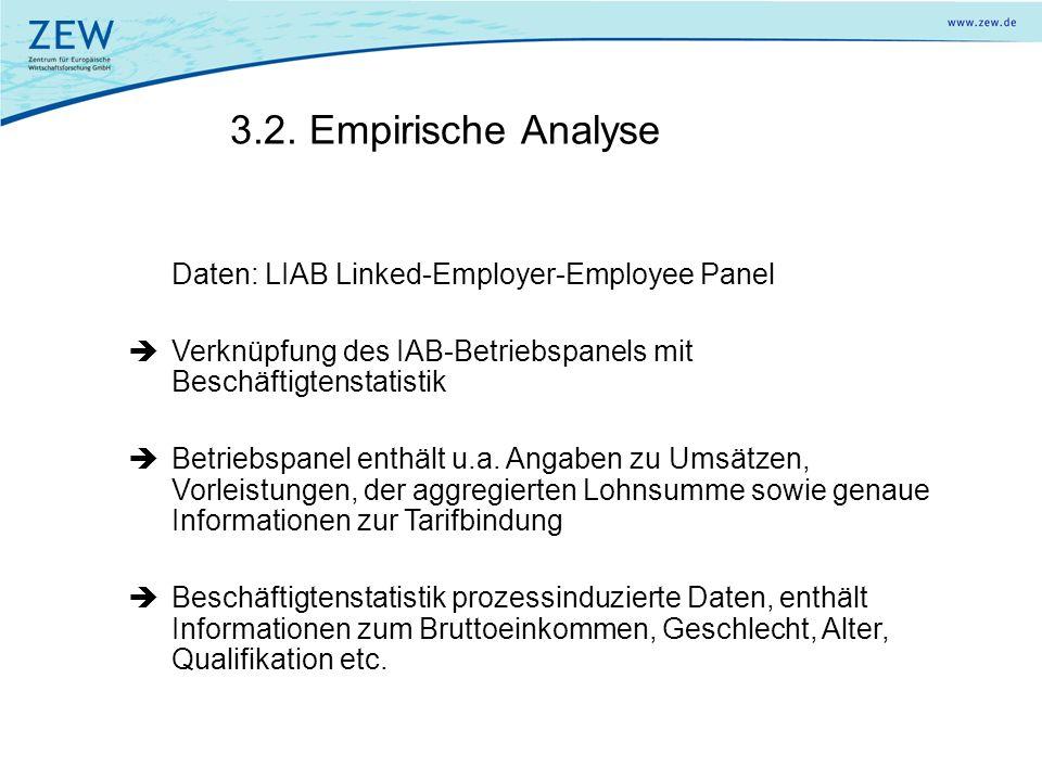 3.2. Empirische Analyse Daten: LIAB Linked-Employer-Employee Panel Verknüpfung des IAB-Betriebspanels mit Beschäftigtenstatistik Betriebspanel enthält
