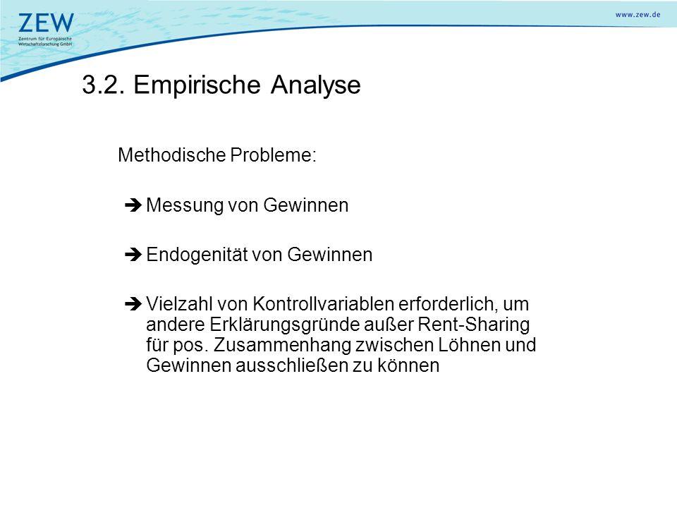 3.2. Empirische Analyse Methodische Probleme: Messung von Gewinnen Endogenität von Gewinnen Vielzahl von Kontrollvariablen erforderlich, um andere Erk