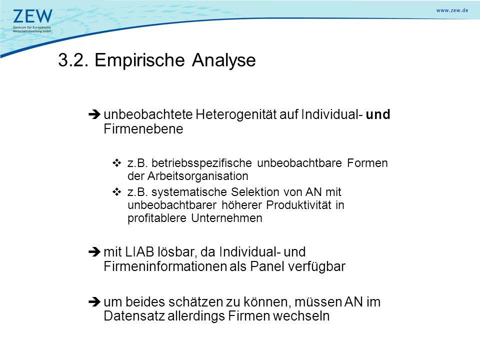 3.2. Empirische Analyse unbeobachtete Heterogenität auf Individual- und Firmenebene z.B. betriebsspezifische unbeobachtbare Formen der Arbeitsorganisa