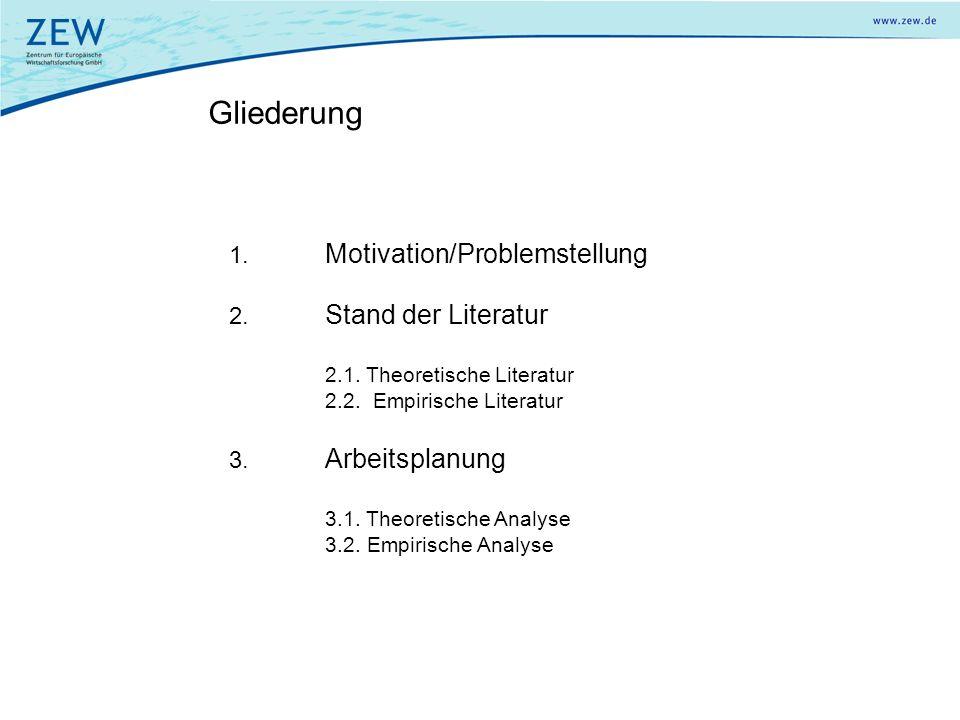 1. Motivation/Problemstellung 2. Stand der Literatur 2.1. Theoretische Literatur 2.2. Empirische Literatur 3. Arbeitsplanung 3.1. Theoretische Analyse