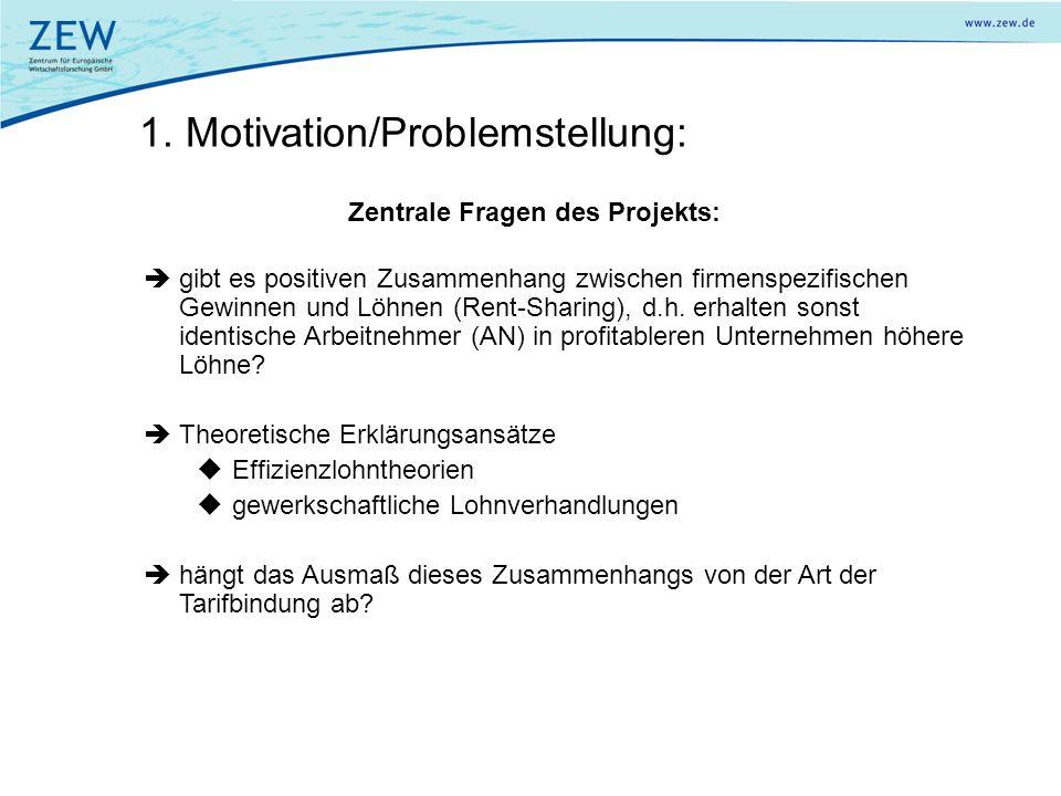 1. Motivation/Problemstellung: Zentrale Fragen des Projekts: gibt es positiven Zusammenhang zwischen firmenspezifischen Gewinnen und Löhnen (Rent-Shar