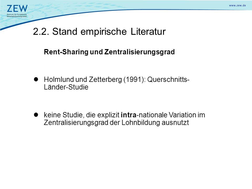 2.2. Stand empirische Literatur Rent-Sharing und Zentralisierungsgrad Holmlund und Zetterberg (1991): Querschnitts- Länder-Studie keine Studie, die ex