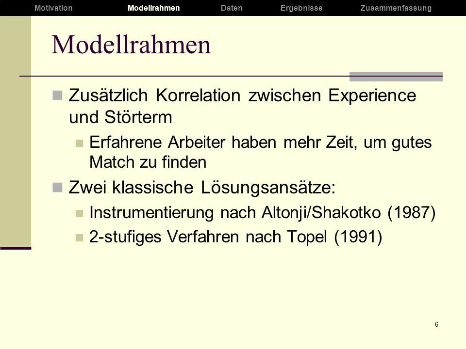 6 Modellrahmen Zusätzlich Korrelation zwischen Experience und Störterm Erfahrene Arbeiter haben mehr Zeit, um gutes Match zu finden Zwei klassische Lösungsansätze: Instrumentierung nach Altonji/Shakotko (1987) 2-stufiges Verfahren nach Topel (1991) MotivationModellrahmenDaten ErgebnisseZusammenfassung