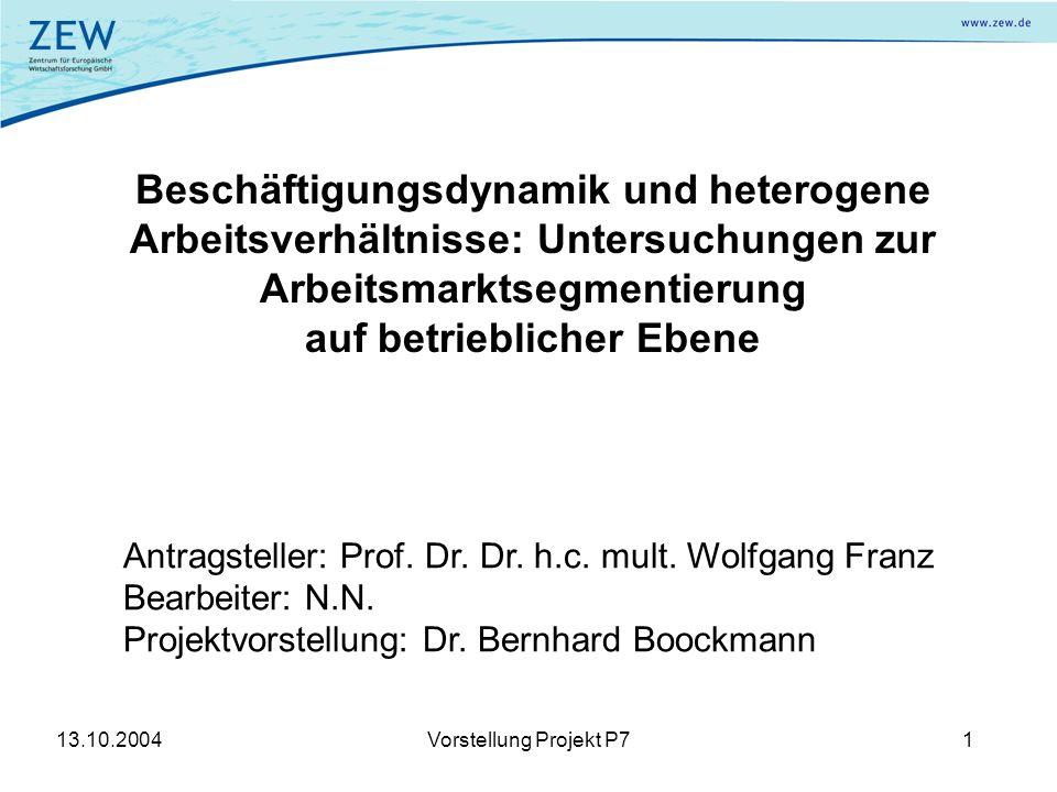 13.10.2004Vorstellung Projekt P71 Beschäftigungsdynamik und heterogene Arbeitsverhältnisse: Untersuchungen zur Arbeitsmarktsegmentierung auf betrieblicher Ebene Antragsteller: Prof.