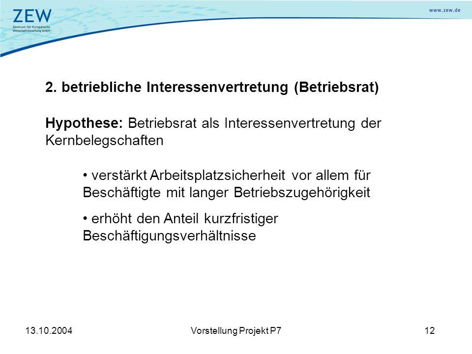 13.10.2004Vorstellung Projekt P712 2.