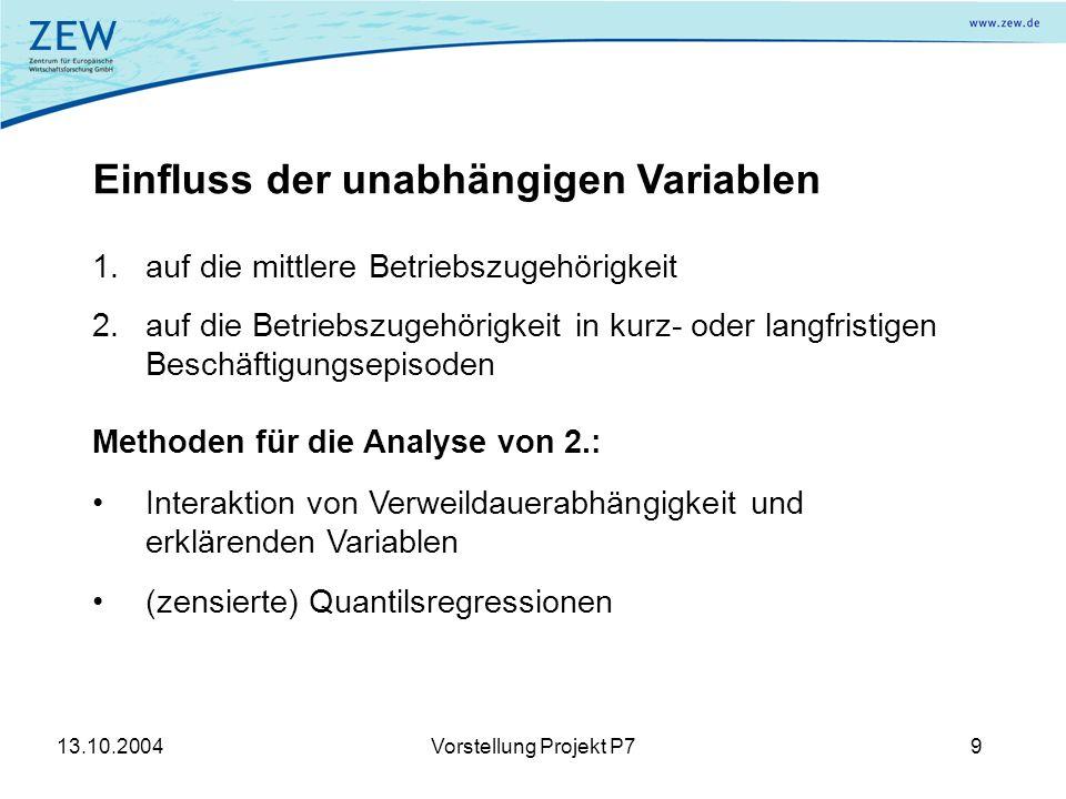 13.10.2004Vorstellung Projekt P79 Einfluss der unabhängigen Variablen 1.auf die mittlere Betriebszugehörigkeit 2.auf die Betriebszugehörigkeit in kurz- oder langfristigen Beschäftigungsepisoden Methoden für die Analyse von 2.: Interaktion von Verweildauerabhängigkeit und erklärenden Variablen (zensierte) Quantilsregressionen