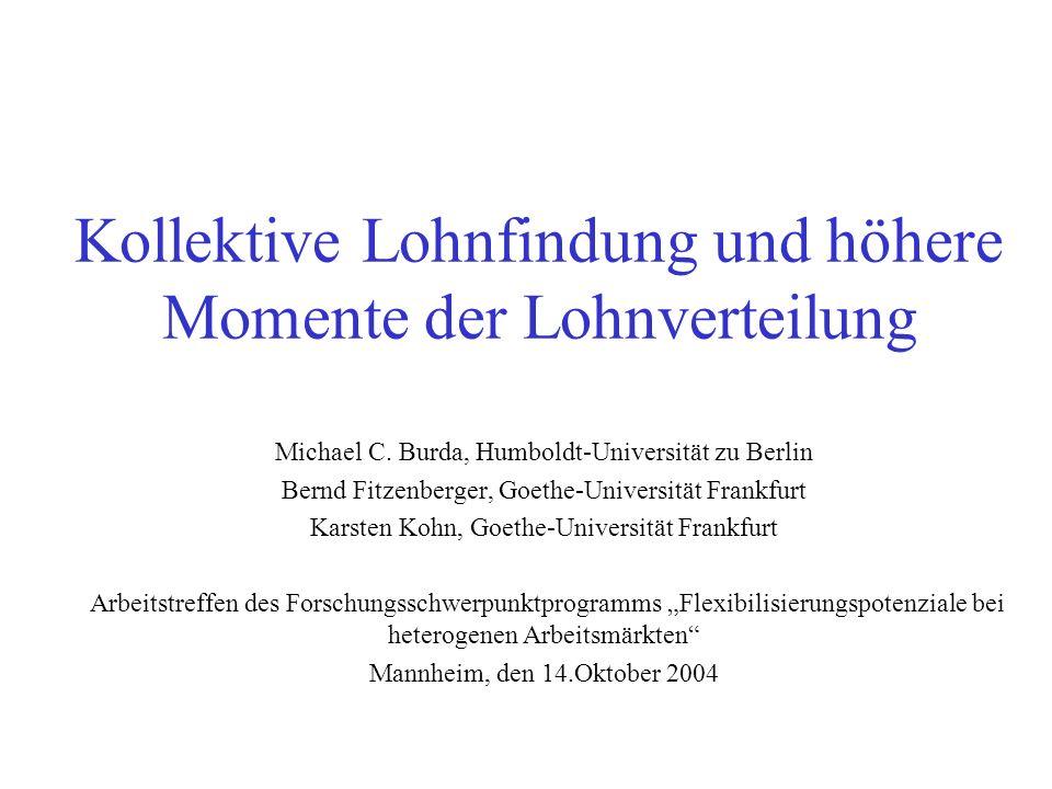 Kollektive Lohnfindung und höhere Momente der Lohnverteilung Michael C. Burda, Humboldt-Universität zu Berlin Bernd Fitzenberger, Goethe-Universität F