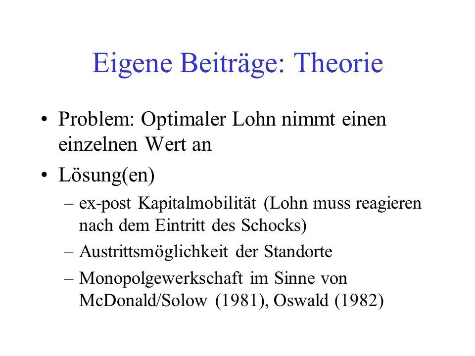 Problem: Optimaler Lohn nimmt einen einzelnen Wert an Lösung(en) –ex-post Kapitalmobilität (Lohn muss reagieren nach dem Eintritt des Schocks) –Austri