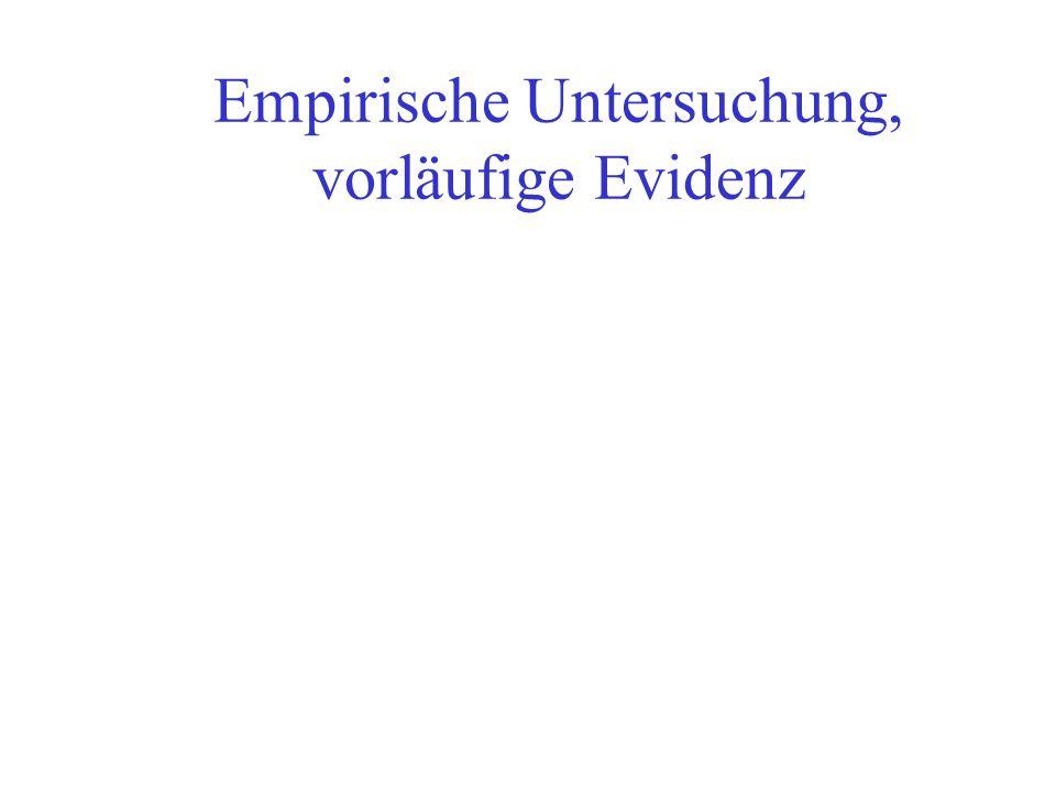 Empirische Untersuchung, vorläufige Evidenz
