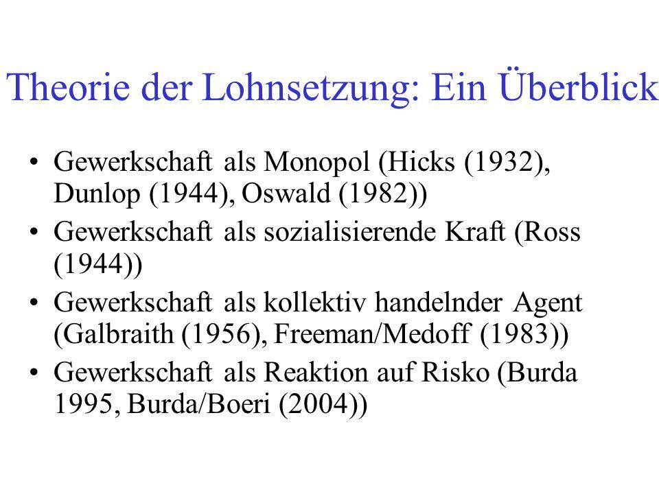 Theorie der Lohnsetzung: Ein Überblick Gewerkschaft als Monopol (Hicks (1932), Dunlop (1944), Oswald (1982)) Gewerkschaft als sozialisierende Kraft (R