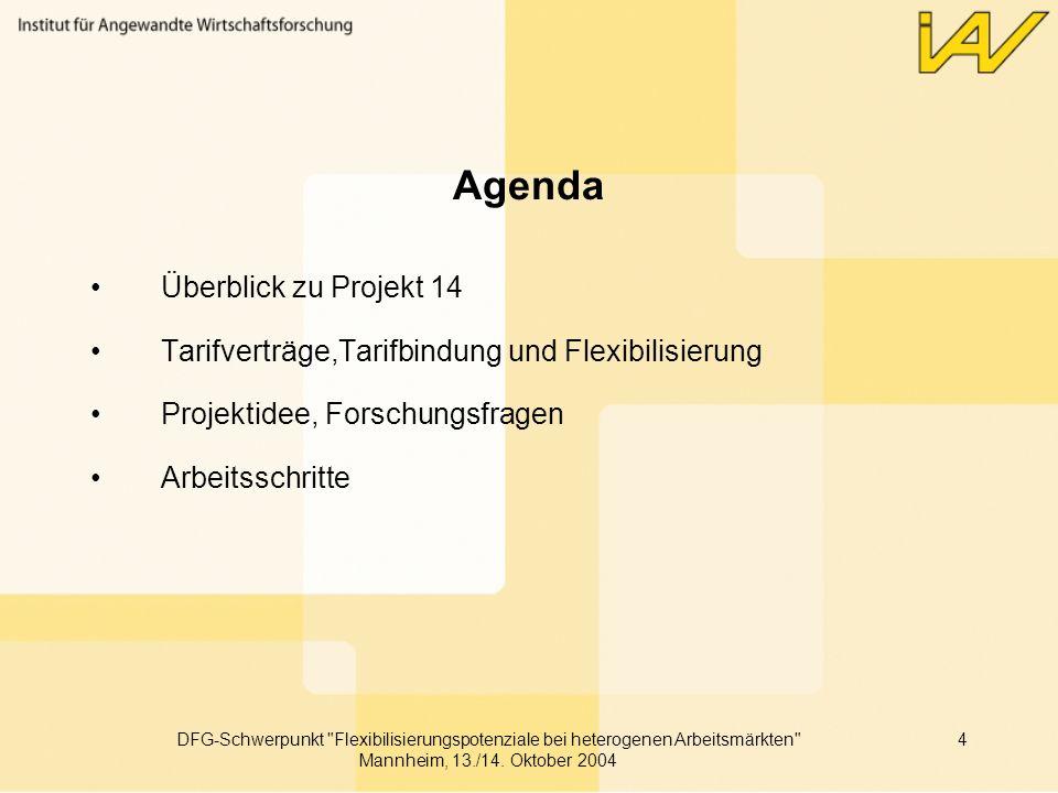 DFG-Schwerpunkt Flexibilisierungspotenziale bei heterogenen Arbeitsmärkten Mannheim, 13./14.