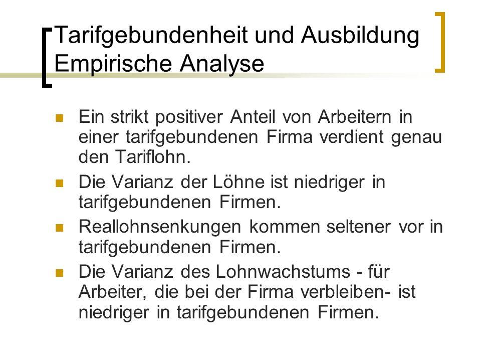 Tarifgebundenheit und Ausbildung Empirische Analyse Ein strikt positiver Anteil von Arbeitern in einer tarifgebundenen Firma verdient genau den Tarifl