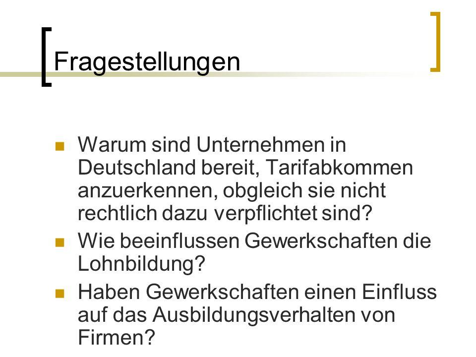Fragestellungen Warum sind Unternehmen in Deutschland bereit, Tarifabkommen anzuerkennen, obgleich sie nicht rechtlich dazu verpflichtet sind? Wie bee