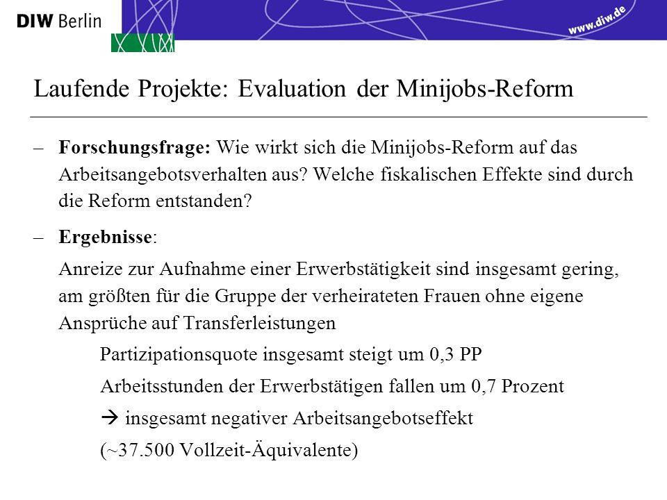 Laufende Projekte: Evaluation der Minijobs-Reform –Forschungsfrage: Wie wirkt sich die Minijobs-Reform auf das Arbeitsangebotsverhalten aus.
