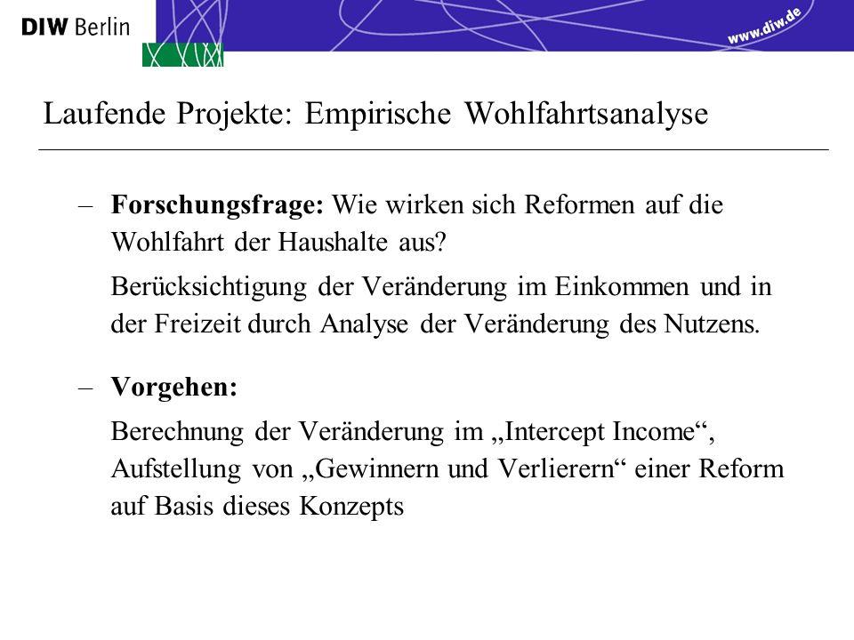 Laufende Projekte: Empirische Wohlfahrtsanalyse –Forschungsfrage: Wie wirken sich Reformen auf die Wohlfahrt der Haushalte aus.
