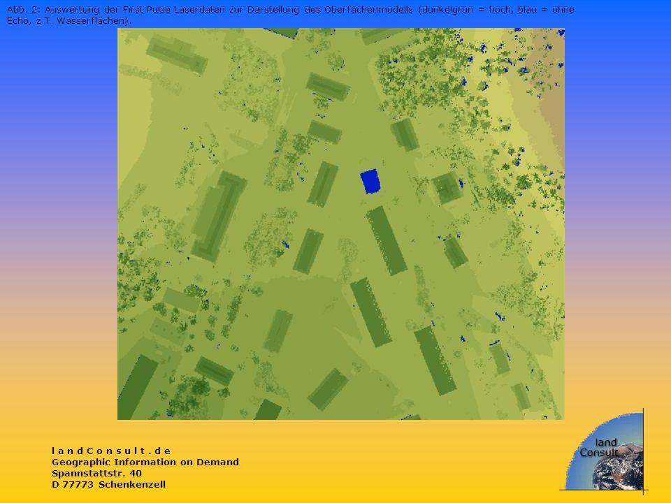 l a n d C o n s u l t. d e Geographic Information on Demand Spannstattstr. 40 D 77773 Schenkenzell Abb. 2: Auswertung der First Pulse Laserdaten zur D