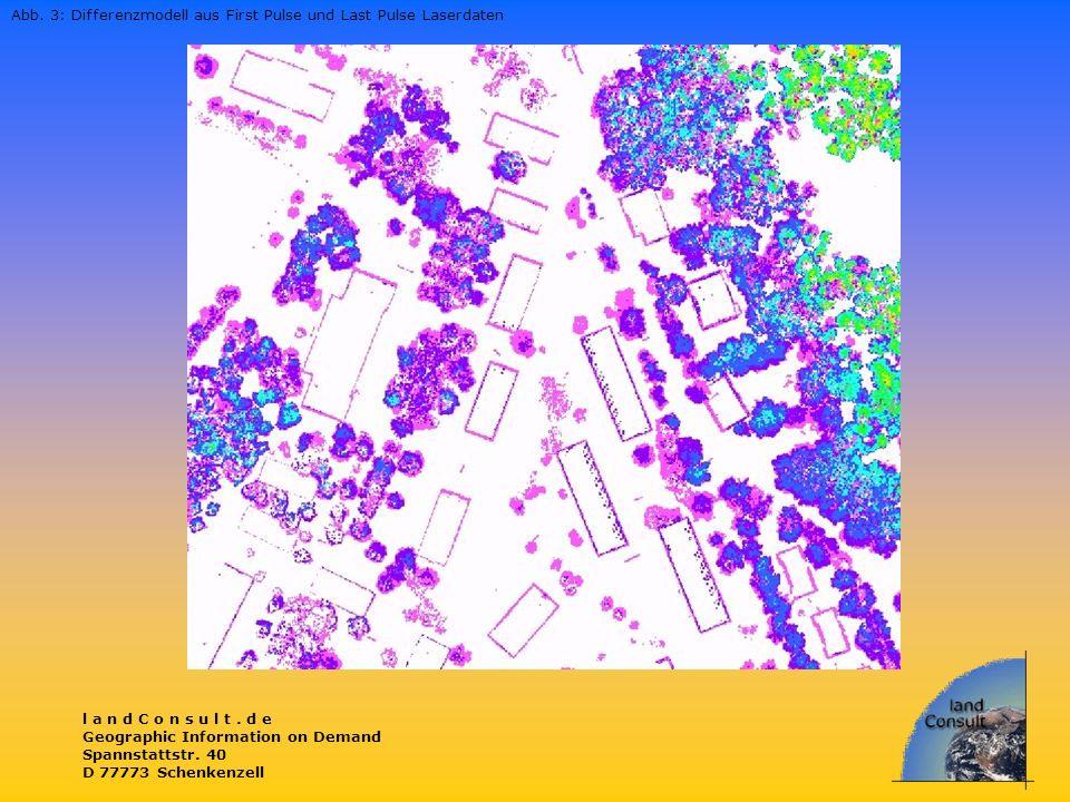 l a n d C o n s u l t. d e Geographic Information on Demand Spannstattstr. 40 D 77773 Schenkenzell Abb. 3: Differenzmodell aus First Pulse und Last Pu